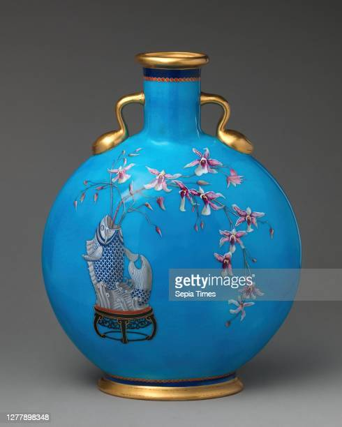 Minton, Moon flask with fish vase holding orchid spray, British, Stoke-on-Trent, Staffordshire, Minton , ca. 1872?, British, Stoke-on-Trent,...