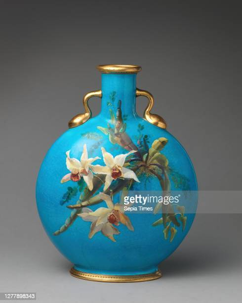 Minton, Moon flask with orchids, British, Stoke-on-Trent, Staffordshire, Minton , ca. 1872, British, Stoke-on-Trent, Staffordshire, Bone china,...