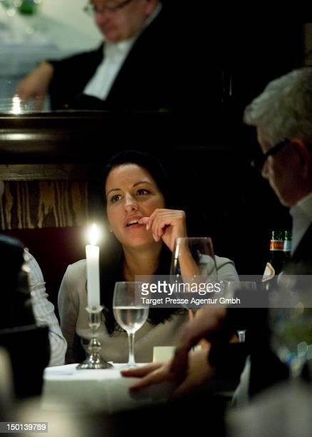 Minu Barati and Joschka Fischer during dinner at the restaurant Nuovo Mario after Romney Mueller Westernhagen opend her exhibition 'Beyond Faces' at...