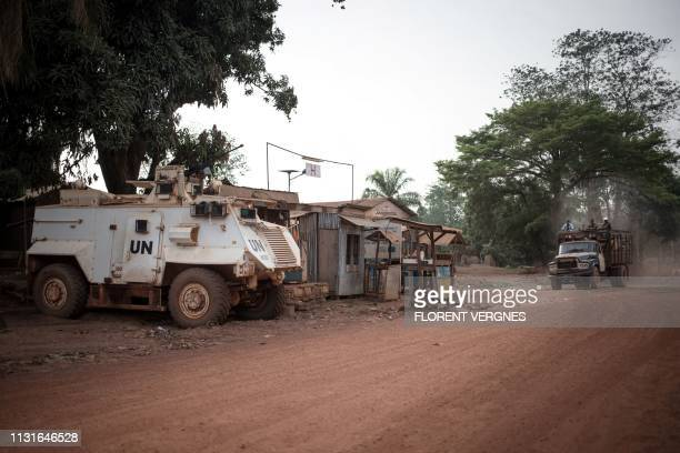 Minusca armoured vehicle secures the Bambari hospital, on March 16, 2019. - Located in the central-eastern part of the Central African Republic,...