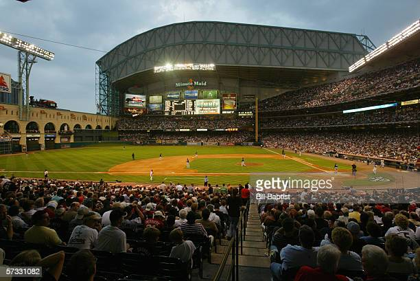 Minute Maid Park is shown during the Opening Day game between the Houston Astros and the Florida Marlins at Minute Maid Park on April 3 2006 in...
