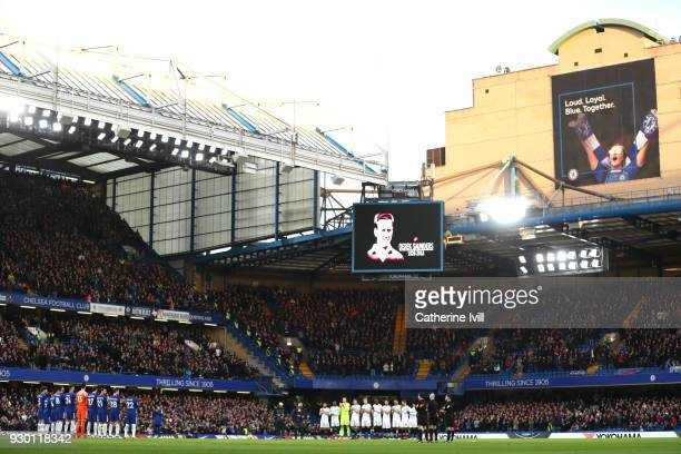 A minute of appluse is carried out for former Chelsea player Derek Saunders prior to the Premier League match between Chelsea and Crystal Palace at...