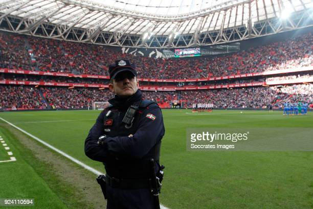 Minute of silence by the policeman who died Thursday in the riots with the Russian ultras during the La Liga Santander match between Athletic de...