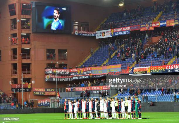 Minute of silence for Davide Astori during the serie A match between Genoa CFC and AC Milan at Stadio Luigi Ferraris on March 11 2018 in Genoa Italy