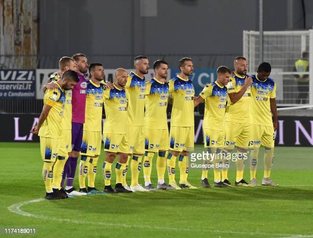 Minute of silence for Giorgio Squinzi before the Serie B match between Ascoli Calcio 1898 and Pescara Calcio at Stadio Cino e Lillo Del Duca on...