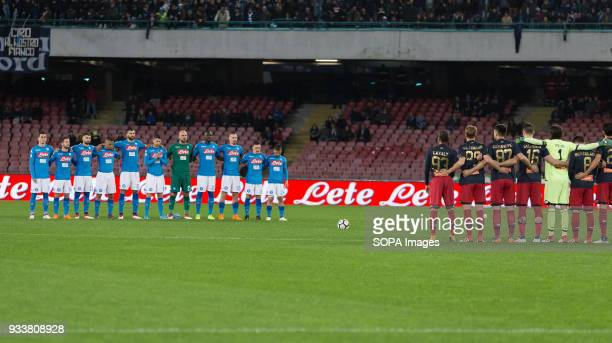 Minute of silence for the Neapolitan journalist Luigi Necco during the Serie A football match between SSC Napoli and Genoa CFC at San Paolo Stadium....