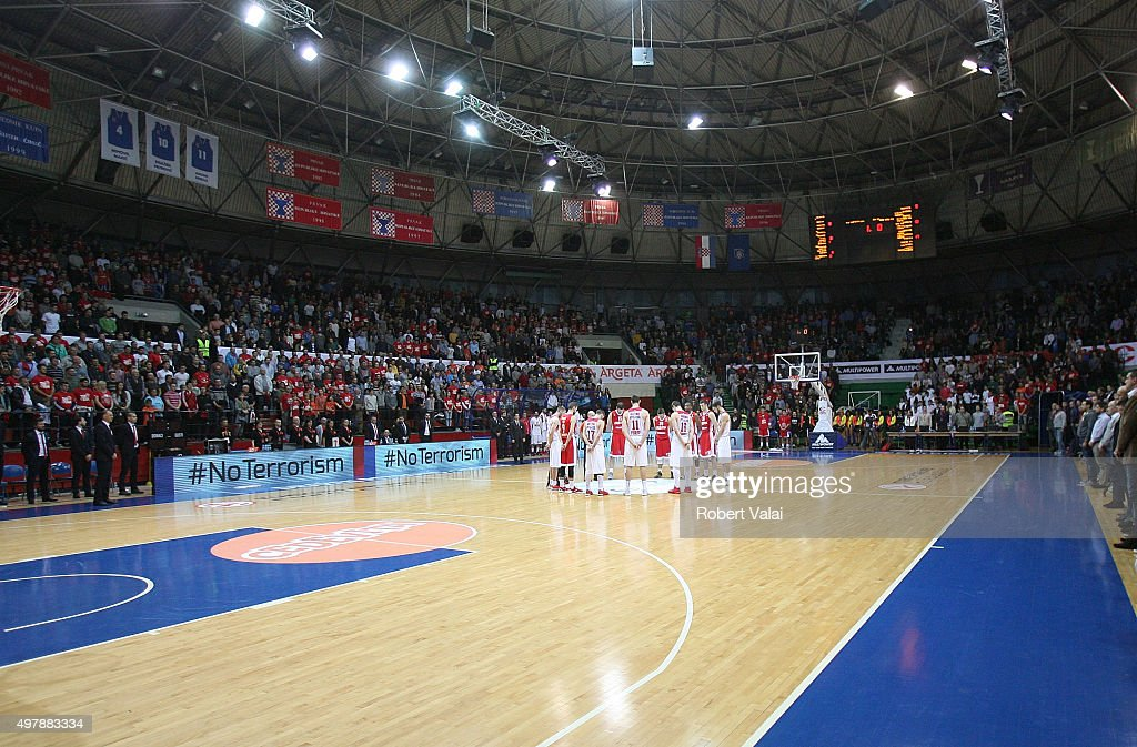 A minute of silence for the victims in Paris before the Turkish Airlines Euroleague Regular Season Round 6 game between Cedevita Zagreb v Olympiacos Piraeus at Drazen Petrovic Zagreb on November 19, 2015 in Zagreb, Croatia.