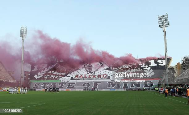 A minute of silence in memory of the victims of Genova's Morand bridge collapse during the Serie B match between US Salernitana and US Citta di...