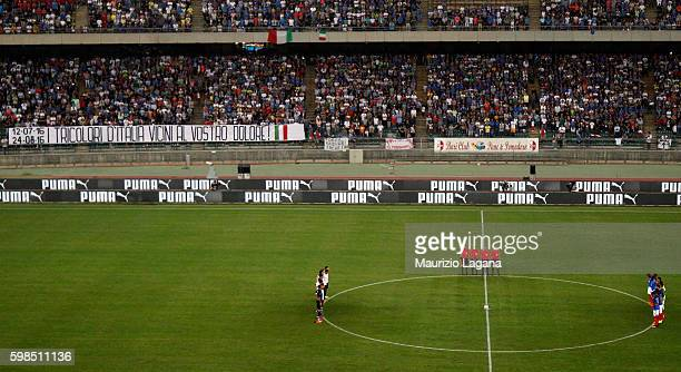A minute of silent for the earthquake of centre Italy prior the international friendly match between Italy and France at Stadio San Nicola on...