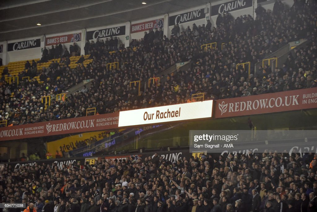 77 minute tribute to 'Our Rachael' Rachael Heyhoe Flint during the Sky Bet Championship match between Wolverhampton Wanderers and Newcastle United at Molineux on February 11, 2017 in Wolverhampton, England.