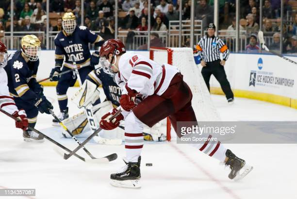 Minutemen defenseman Cale Makar tries to get the puck during the Northeast Regional final between the UMASS Minutemen and the Notre Dame Fighting...