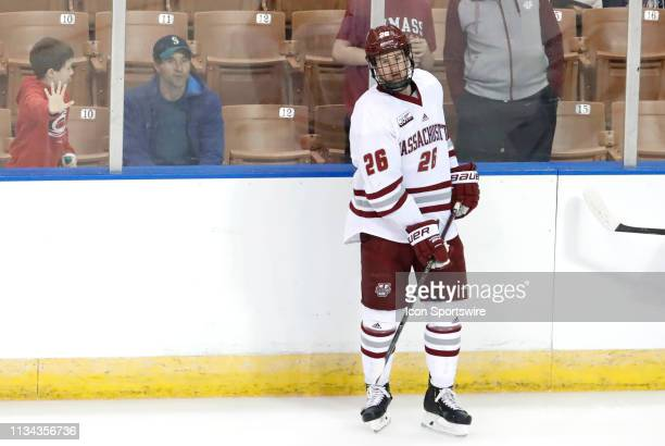 Minutemen defenseman Colin Felix waits for a drill before the Northeast Regional final between the UMASS Minutemen and the Notre Dame Fighting Irish...