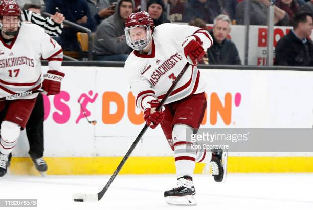 Minutemen defenseman Ty Farmer shoots during a Hockey East semifinal game between the Boston College Eagles and the UMASS Minutemen on March 22 at TD...