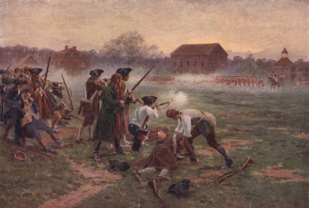 Minutemen facing British soldiers on Lexington Common,...
