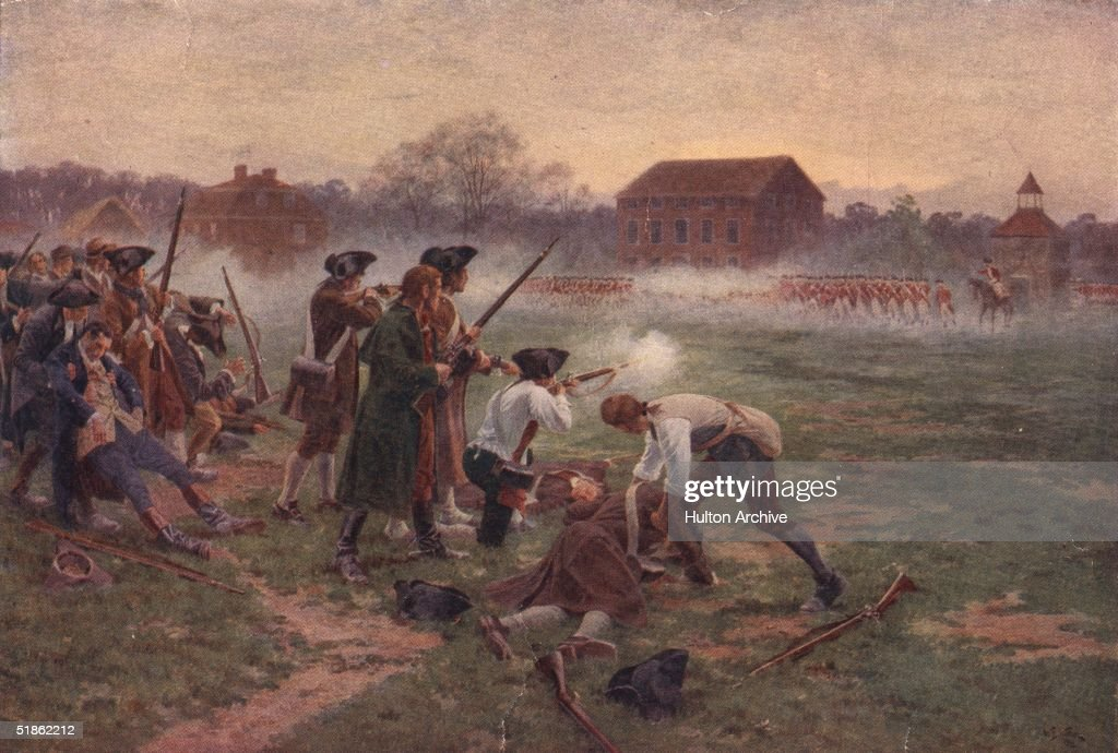 Minutemen facing British soldiers on Lexington Common, Massachusetts, in the first battle in the War of Independence, 19th April 1775. Original artist William Barnes Wollen.