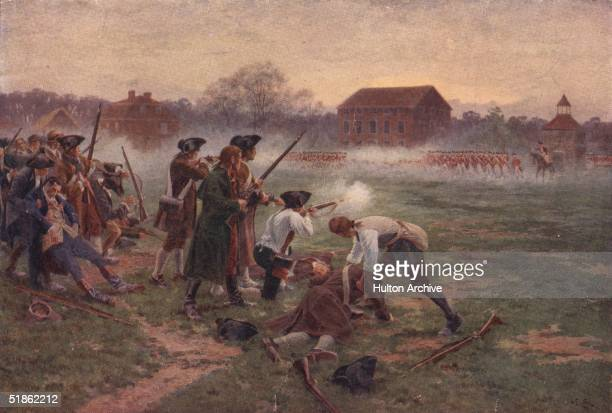 Minutemen facing British soldiers on Lexington Common, Massachusetts, in the first battle in the War of Independence, 19th April 1775. Original...