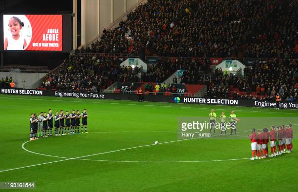 A minutes applause is held prior to kick off in memory of Amora Afobe daughter of Benik Afobe of Bristol City during the Sky Bet Championship match...