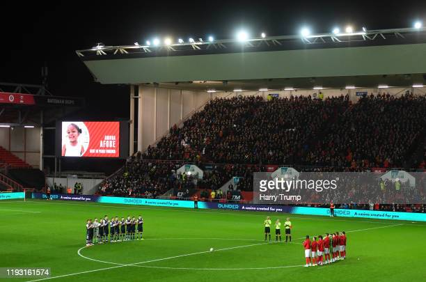 Minutes applause is held prior to kick off in memory of Amora Afobe, daughter of Benik Afobe of Bristol City during the Sky Bet Championship match...