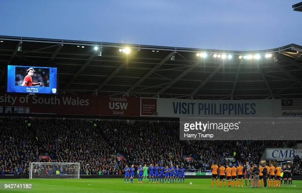 A minutes applause is held prior to kick off in memory of Ray Wilkins during the Sky Bet Championship match between Cardiff City and Wolverhampton...