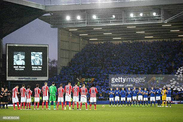 A minutes applause is observed to mark a 100 Years since the Christmas Truce in WW1 during the Barclays Premier League match between Everton and...