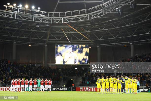 A minute's silence in honour of former Nantes forward Emiliano Sala who was killed in a plane crash on 21 January 2019 is observed during the UEFA...