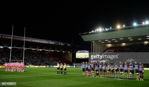 A minutes silence is held by both teams to remember those tragically killed in Westminster before the Aviva Premiership match between Bristol Rugby...