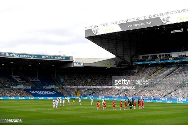 A minutes silence is held in memory of former Leeds United player Jack Charlton prior to the Sky Bet Championship match between Leeds United and...