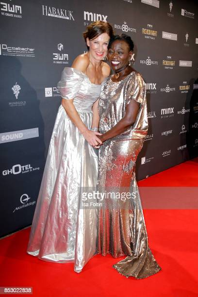 Minx Designer Eva Lutz and Auma Obama halfsister of former US president Barack Obama during the Minx Fashion Night in favour of 'Sauti Kuu' of Auma...