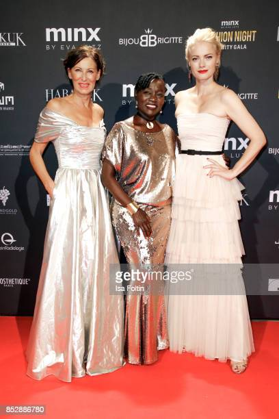 Minx Designer Eva Lutz Auma Obama halfsister of former US president Barack Obama and model Franziska Knuppe during the Minx Fashion Night in favour...