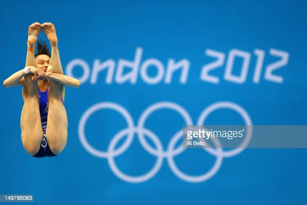 Minxia Wu of China competes in the Women's 3m Springboard Diving Semifinal on Day 8 of the London 2012 Olympic Games at the Aquatics Centre on August...