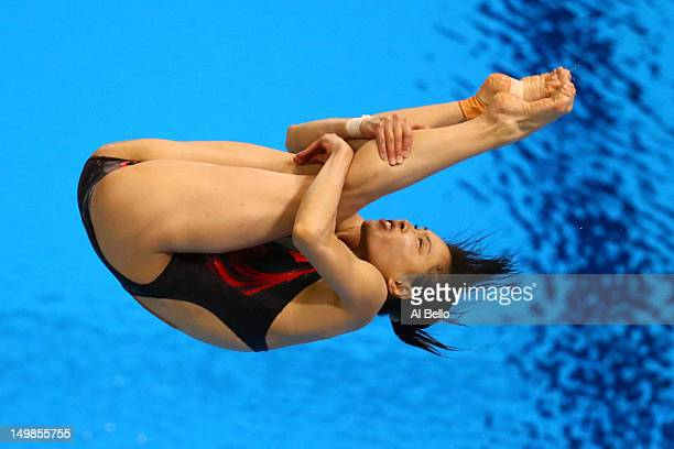 Minxia Wu of China competes in the Women's 3m Springboard final on Day 9 of the London 2012 Olympic Games at the Aquatics Centre on August 5 2012 in...