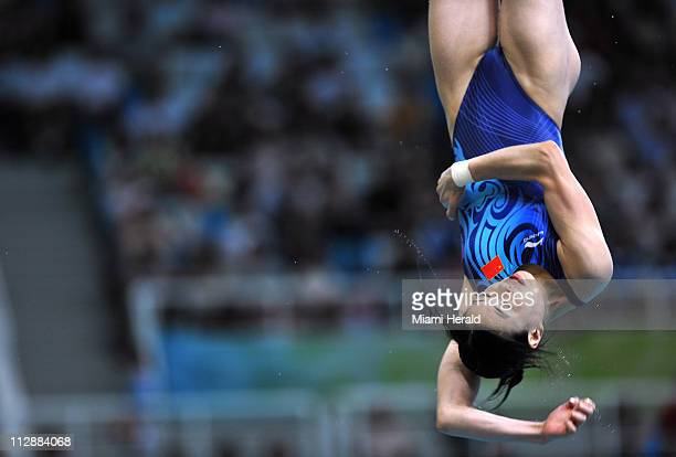 Minxia Wu of China competes in the women's 3meter springboard semifinals on Saturday August 16 in the Games of the XXIX Olympiad in Beijing China