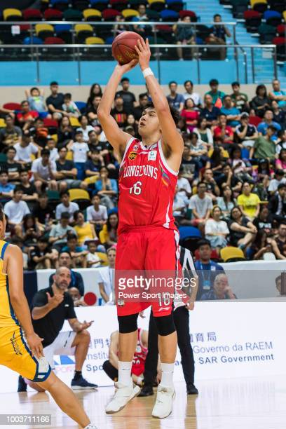 Minyang the Sun of Guangzhou Long Lions shoots the ball during the Summer Super 8 Final game between Seoul Samsung Thunders and Guangzhou Long Lions...