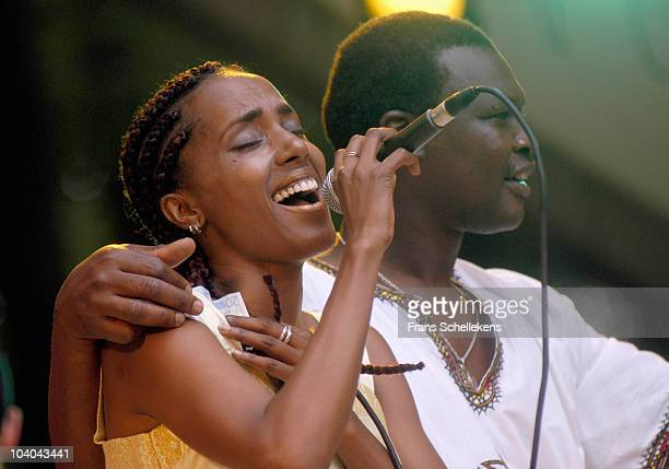 Minyeshu Kifle Tedla performs on stage at Afrika Festival on June 28 2003 in Hertme, Netherlands.