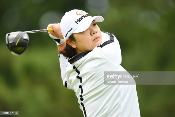 Min-Young Lee of South Korea hits her tee shot on the 1st hole during the first round of Stanley Ladies Golf Tournament at the Tomei Country Club on...