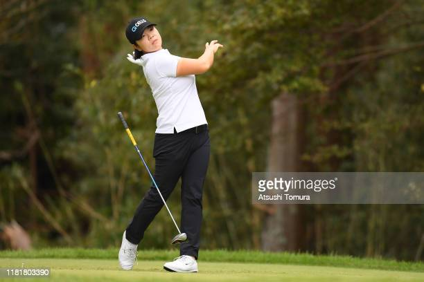 MinYoung Lee of South Korea hits her tee shot on the 7th hole during first round of Fujitsu Ladies at Tokyu Seven Hundred Club on October 18 2019 in...