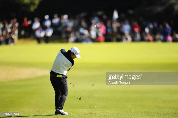 MinYoung Lee of South Korea hits her third shot on the 9th hole during the final round of the TOTO Japan Classics 2017 at the Taiheiyo Club Minori...