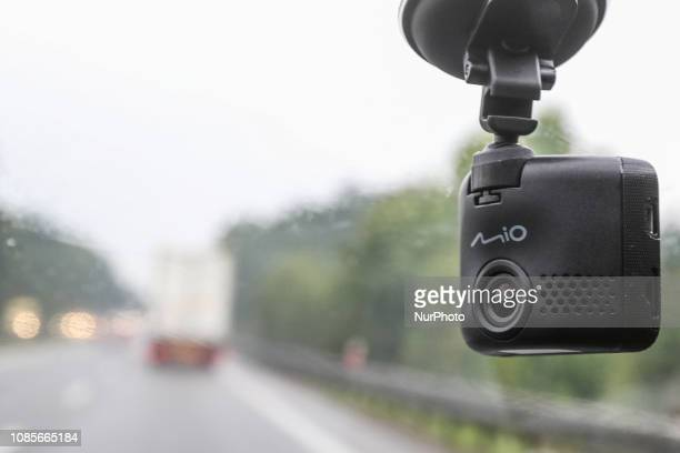 Mio dash cam mounted in car is seen in Gdansk Poland on 14 August 2018 Sales of car cameras is growing in Poland Experts say that popularity of this...