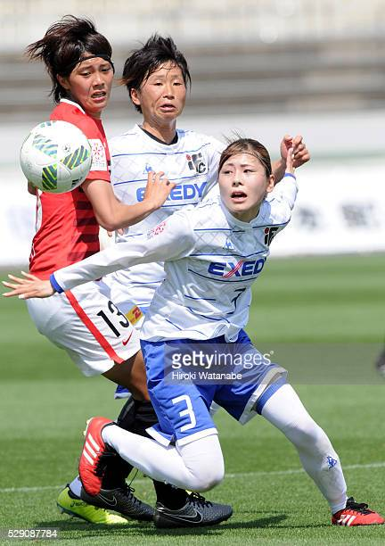 Mio Ohashi of Iga FC Kunoichi and Akari Shiraki of Urawa Red Diamonds Ladies compete for the ball during the Nadeshiko League match between Urawa Red...