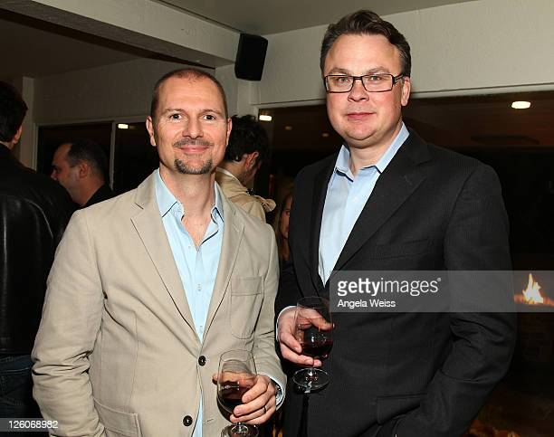 Mio Vukovic of AAM and CEO of Kobalt Music Willard Ahdritz attend the Friends N Family Dinner at The Jack Warner Estate on February 10 2011 in Los...