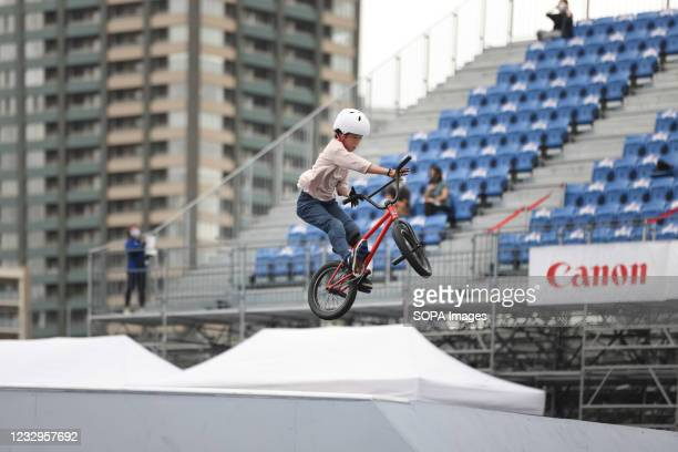 Mio Yoshida in action during her first heat ride at the Ready Steady Tokyo BMX Freestyle Test Event in Ariake Urban Sports Park.