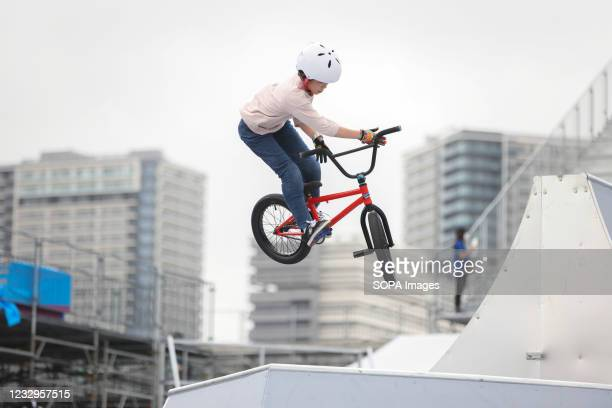 Mio Yoshida in action during her second heat ride at the Ready Steady Tokyo BMX Freestyle Test Event in Ariake Urban Sports Park.