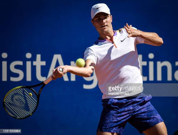 Miomir Kecmanovic of Serbia hits a forehand during a match against Diego Schwartzman of Argentina with a part of second semifinal during day 6 of ATP...