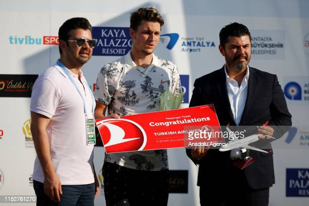 Miomir Kecmanovic of Serbia is seen after being beaten by Pablo Carreno Busta of Spain following single's final match within the Turkish Airlines...