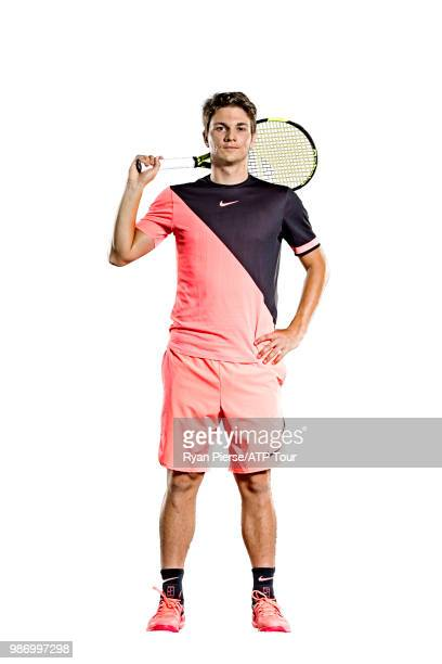 Miomir Kecmanovic of Serbia poses for portraits during the Australian Open at Melbourne Park on January 12 2018 in Melbourne Australia