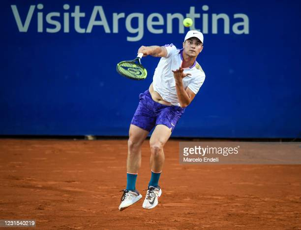 Miomir Kecmanovic of Serbia serves during a match against Laslo Diere of Serbia as part of day 5 of ATP Buenos Aires Argentina Open 2021 at Buenos...