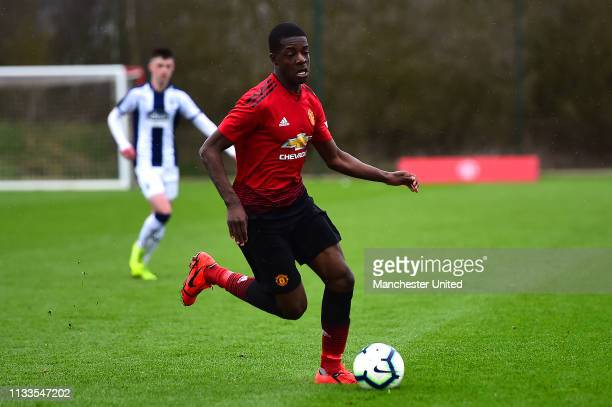 Mipo Odubeko of Manchester United U18s in action during the U18 Premier League match between Manchester United U18s and West Bromwich Albion U18s at...