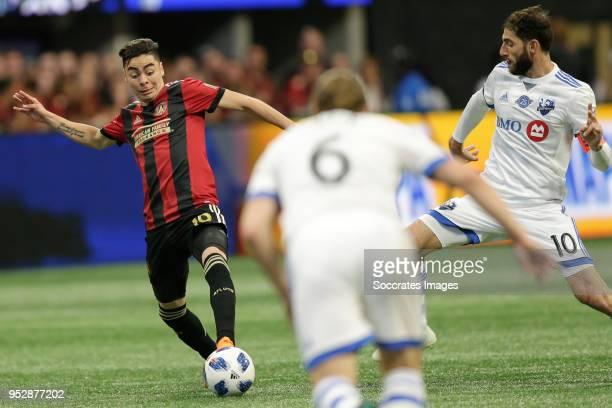 Miquel Almiron of Atlanta United Ignacio Piatti of Montreal Impact during the match between Atlanta United FC v Montreal Impact at the MercedesBenz...