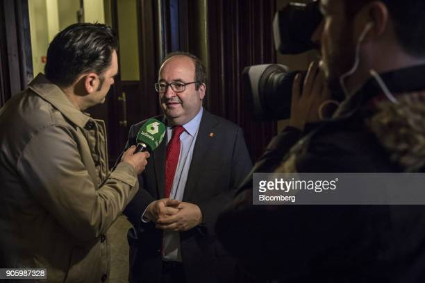 Miquel Iceta leader of the Socialists' Party of Catalonia speaks to a television reporter ahead of the first session in the Catalan parliament in...