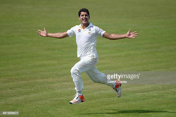 Mir Hamza of Pakistan A celebrates dismissing Jonathan Bairstow of England during day two of the tour match between Pakistan A and England at Sharjah...